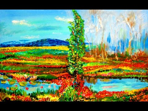 Painting Landscape River Misty Forest Contemporary New Impressionist Acrylic on Canvas: Rami Benatar