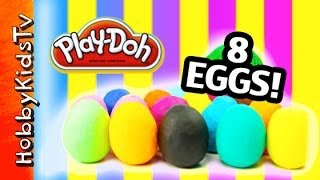 Whats in our 8 PLAY DOH Surprise Toy Eggs by  HobbyKidsTV