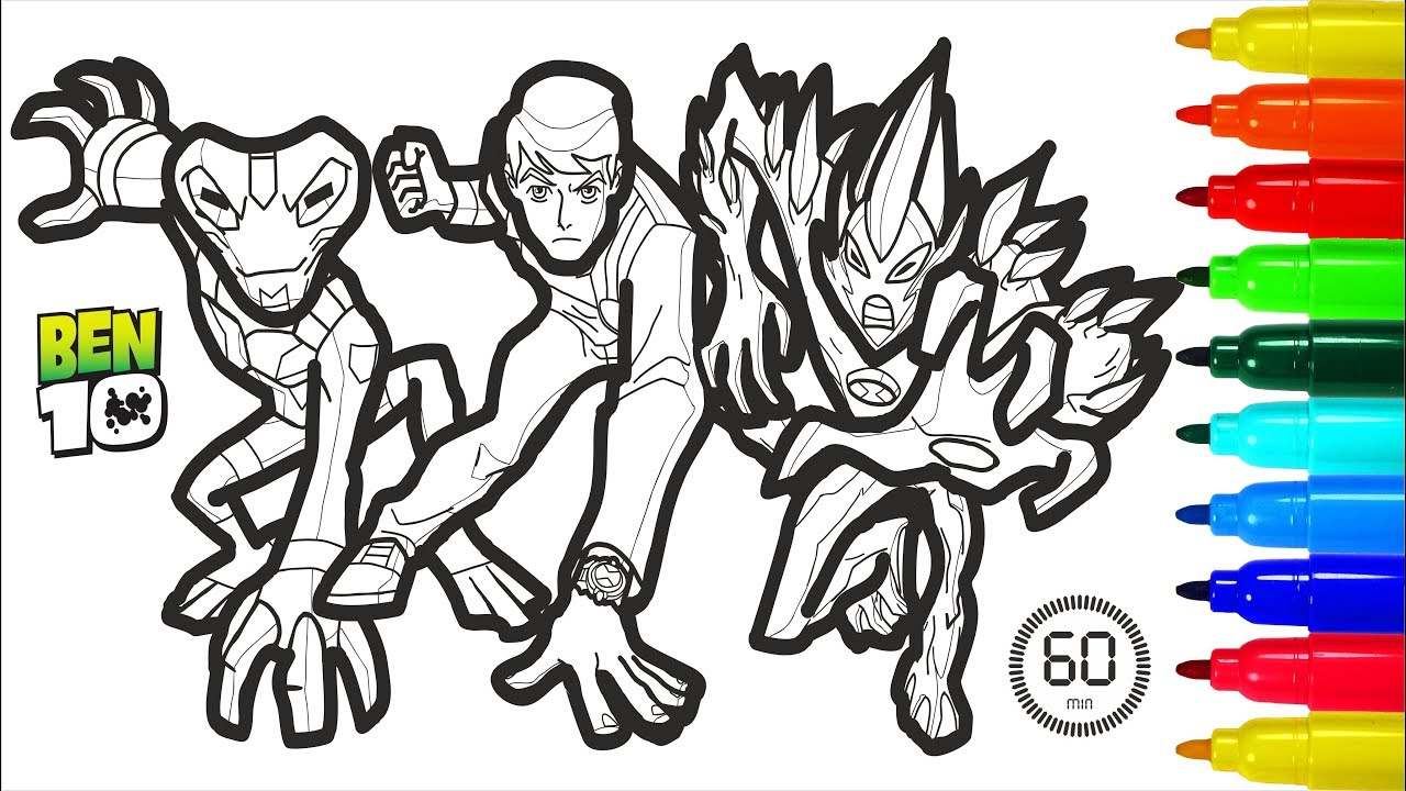 Ben 10 60 Minutes Coloring Pages Colouring Pages For Kids Youtube