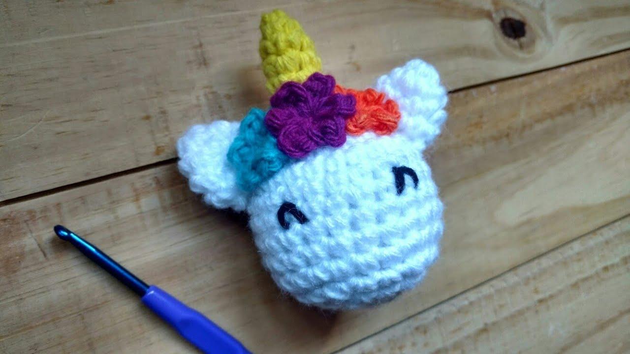 Mi primer amigurumi: Como tejer Llavero Unicornio a Crochet - YouTube