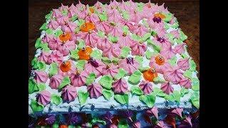 Торт с Фруктовой Начинкой и Белковым Кремом