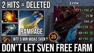 This Happen When Sven Gets Midas in 5Min | Craziest Damage 2 Hits K.O Rampage with Zero Death DotA 2