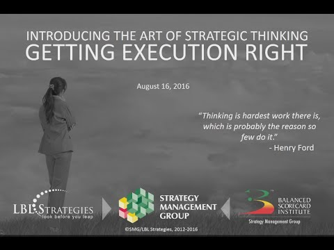 Introducing the Art of Strategic Thinking – Getting Execution Right!