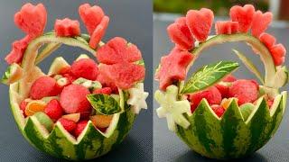 HOW TO MAKE WATEŔMELON BASKET    Easy watermelon fruit Bowl    Super fruit decoration ideas