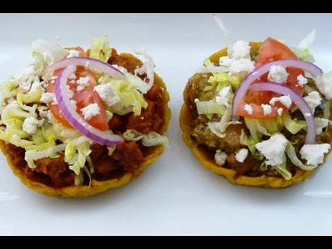 Mexican Sopes Recipe: filled with Pork Rinds in Green Sauce
