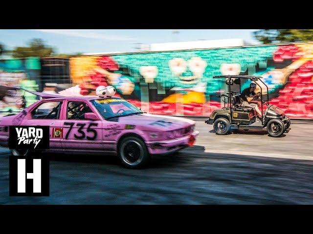 750cc Golf Cart vs Ute vs BMW 735i DRAG RACE SMASH-A-THON