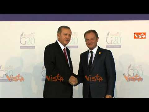 G20 IN TURCHIA, ERDOGAN ACCOGLIE MERKEL CAMERON JUNKER E TUSK