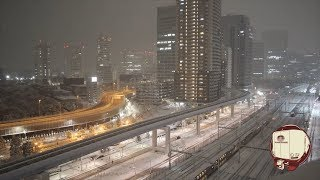 [18/1/22 22:19]東京駅発 寝台特急サンライズ瀬戸・出雲 通過 ⛄大雪