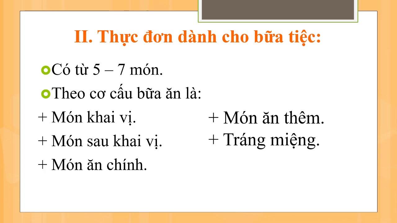 Công nghệ 6 Thực hành xây dựng thực đơn cùng THCS Võ Thành Trang