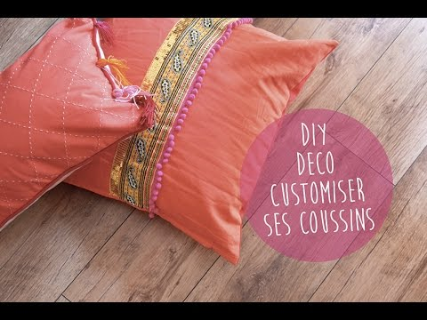 Diy d co customiser ses coussins youtube - Customiser des coussins ...