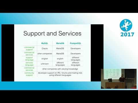 2017 MySQL, MariaDB versus PostgreSQL
