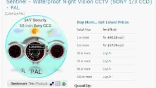 $ 61 US, Sentinel - Waterproof Night Vision CCTV (SONY 1/3 CCD) - PAL 1st Shopping Channel