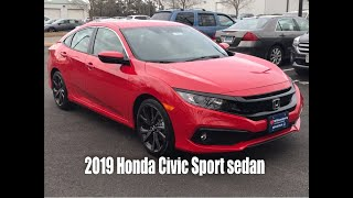 2019 Honda Civic Sport sedan overview.  Quick three and half minute walk around.