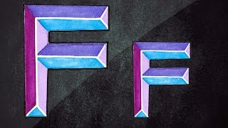 How To Draw 3D Letters || 3D Graffiti || Draw Letter F In Chisel Letters