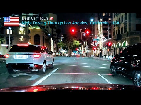 Dash Cam Tours 🚘 Night  Driving Along Wilshire Boulevard, Los Angeles,  California,  USA