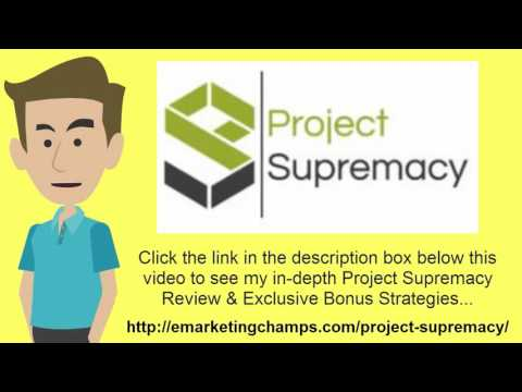[Project Supremacy Review] Honest Review & Bonus Strategies: (Project Supremacy Review) See honest review of Project Supremacy, learn how it works & discover BONUS strategies:  http://emarketingchamps.com/project-supremacy/  ------ 8 Great On-Page SEO Techniques That Work  If you are just starting out with a blog, and you are not sure what search engine optimization actually means, it's very easy to implement once you understand what steps to take and read a good Project Supremacy Review article. There is a difference between on-page and off-page optimization when it comes to SEO. Off-page optimization refers to building links back to your individual pages. On-page refers to everything that you need to do on your website, specifically each page, and here are eight great on-page SEO techniques that really do work.  First, you need to make sure that your page titles have the keyword that you are targeting with each page and having a good Project Supremacy bonus will also help with on-page conversions. Second, you need to add proper content keywords to your meta-descriptions, something that the search engine algorithms are going to look at when they are ranking each page. Third, meta-tags need to be added which will include your primary keyword for that page, and secondary keywords that are related in some way. Fourth, your URL structure needs to be search engine friendly, meaning the title of each page needs to be after the main URL, something that can be resolved on WordPress if you are able to change the Permalink structure. Fifth, you need to add what are called body tags, starting with H1 tags, going down to H4. H1 tags should be used when you are introducing your content, and then H2, H3 and H4 tags for the subheadlines as you go along. Sixth, make sure that your keyword density is never greater than 5%, and preferably around 2% for most types of content. For example, if you have a 500 word article, you would not want to use your keyword more than 5 to 10 times throughout the content, and it is recommended that it is only used 2 or 3 times in most cases. Finally, you need to add descriptions in the alt text of your images, and add internal linking to all of the pages on your website that relate. These final two steps are very important, and often overlooked, and can help you achieve top rankings fast.  In summary, these eight techniques will definitely help your on-page ranking for every page that you use these on. Also, again pay attention to the different Project Supremacy Review sites you see and use only the best information. Once it is crawled by the search engine spiders, they will take all of this into account, and you could easily find yourself on page 1 of the search engine results for most of your longtail low competition keywords.  Project Supremacy Review - See honest review of Project Supremacy, learn how it works & discover a unique Project Supremacy Bonus: https://www.youtube.com/watch?v=WVCgkjNjbG0