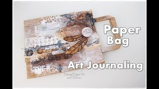 Junk Journal Page from Paper Bag ♡ Maremi's Small Art ♡ thumbnail