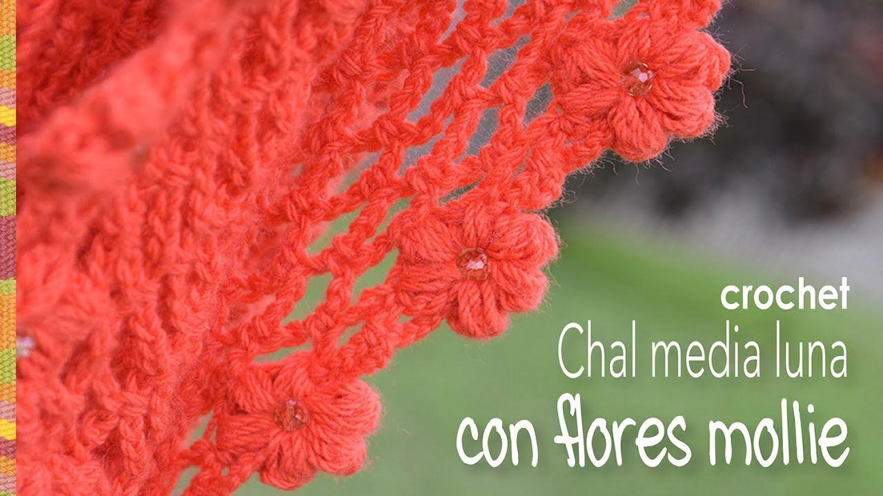 Chal media luna con flores mollie a crochet - Mollie flower crescent ...