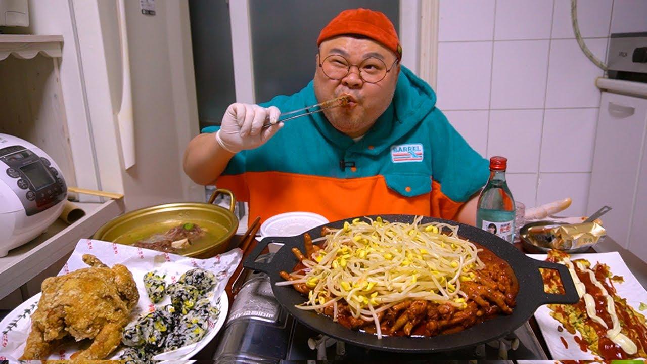 국물닭발과 소주한잔 생각나는 밤...│옛날 통닭, 국물닭발 먹방Spicy Chicken feet soup,Fried Chicken  Mukbang Eatingshow