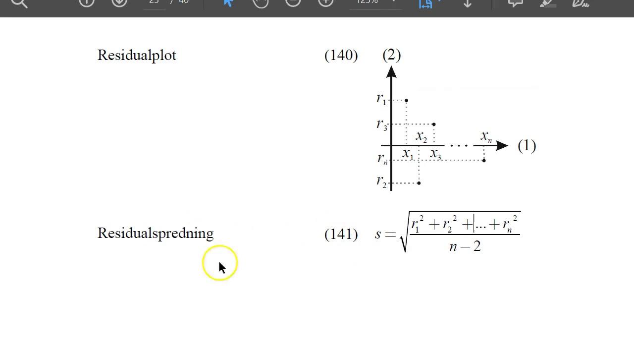 Lineær regression og residualspredning i GeoGebra