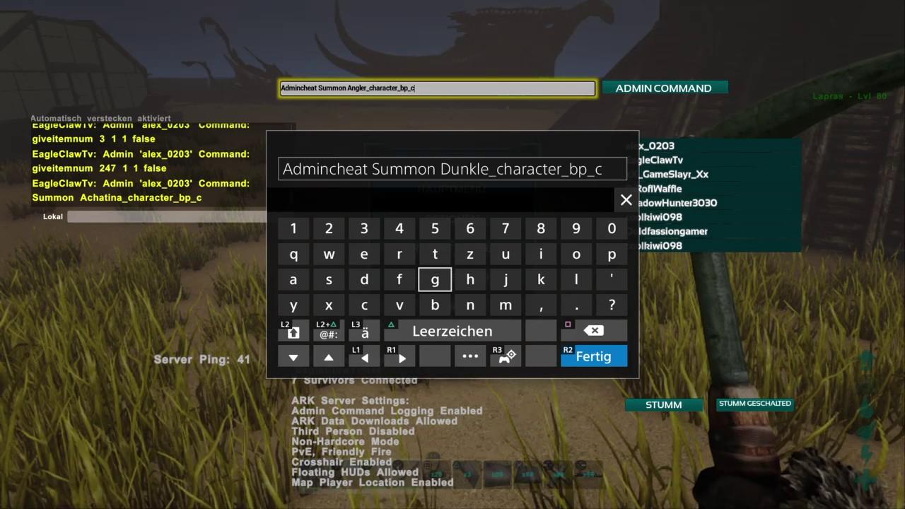 Ark Survival Evolved PS4 Cheats Admin Command Fr