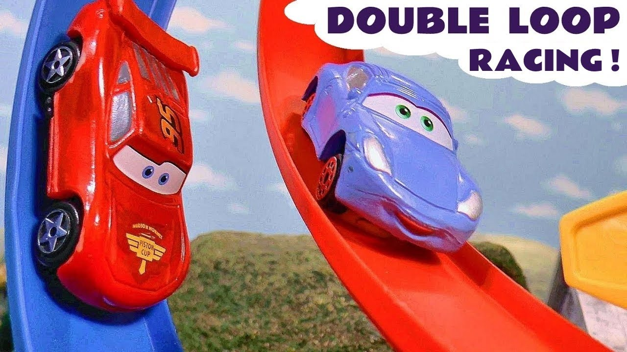 Cars McQueen Double Loop race against Hot Wheels Superhero Cars and Funny Funlings