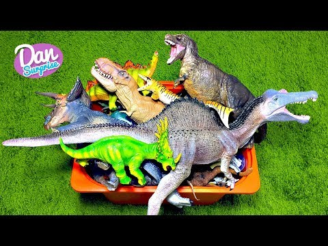 BIG BOX OF DINOSAUR TOYS FOR KIDS: T-REX, INDOMINUS REX, DIMETRODON Video for Kids