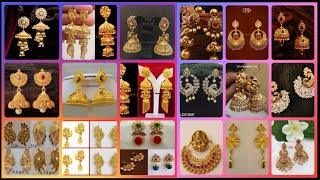 Todays Latest Gold Jhumka Design Today's fashion new earrings design 2019 #goldenindia #gold