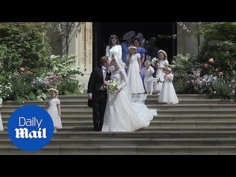 Royal wedding: Lady Gabriella Windsor and Thomas Kingston kiss on chapel steps