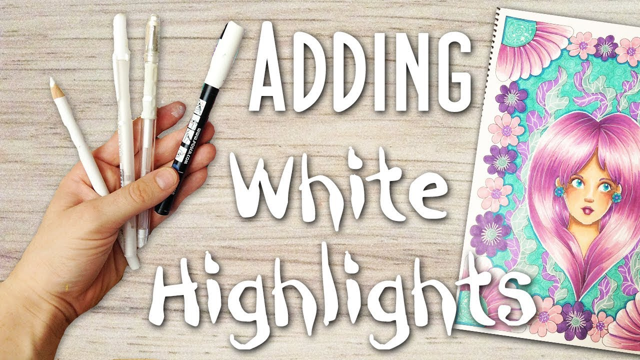 How To Add White Highlights To Art Drawings And Coloring Pages