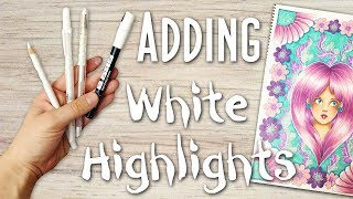 How to Add White Highlights to Art, Drawings and Coloring Pages: White Paint Pen Tutorial