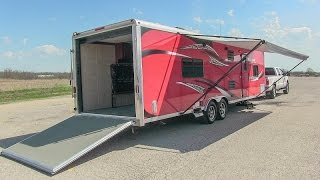 2014 Forest River Work and Play 30WLA toy hauler travel trailer camper walk-around tutorial video