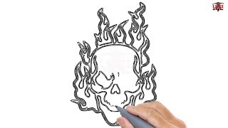 How to Draw a Skull on Fire Easy Step By Step Drawing Tutorials for Kids – UCIDraw