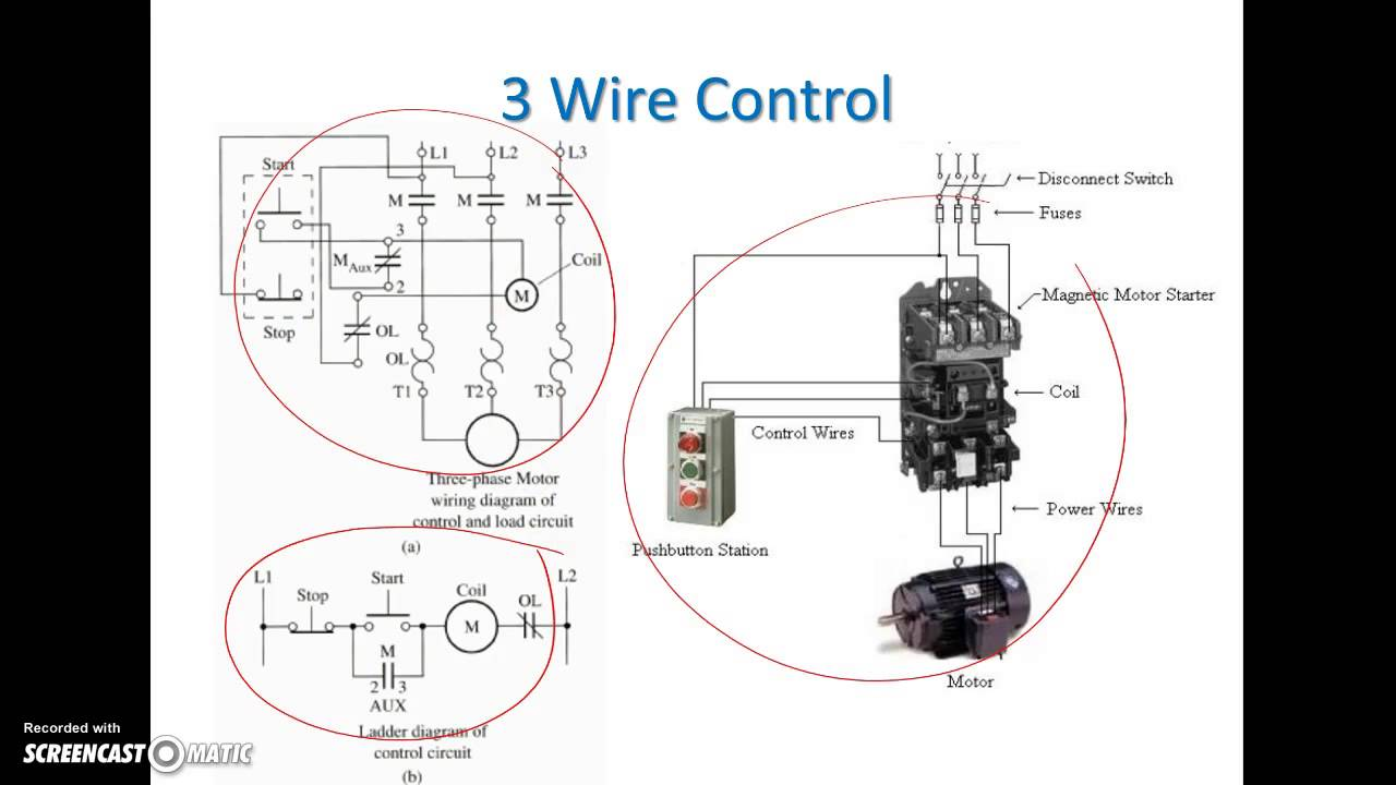 ladder diagram basics 3 2 wire 3 wire motor control circuit rh youtube com 3 Wire Start Stop Diagram 3 wire rtd circuit diagram