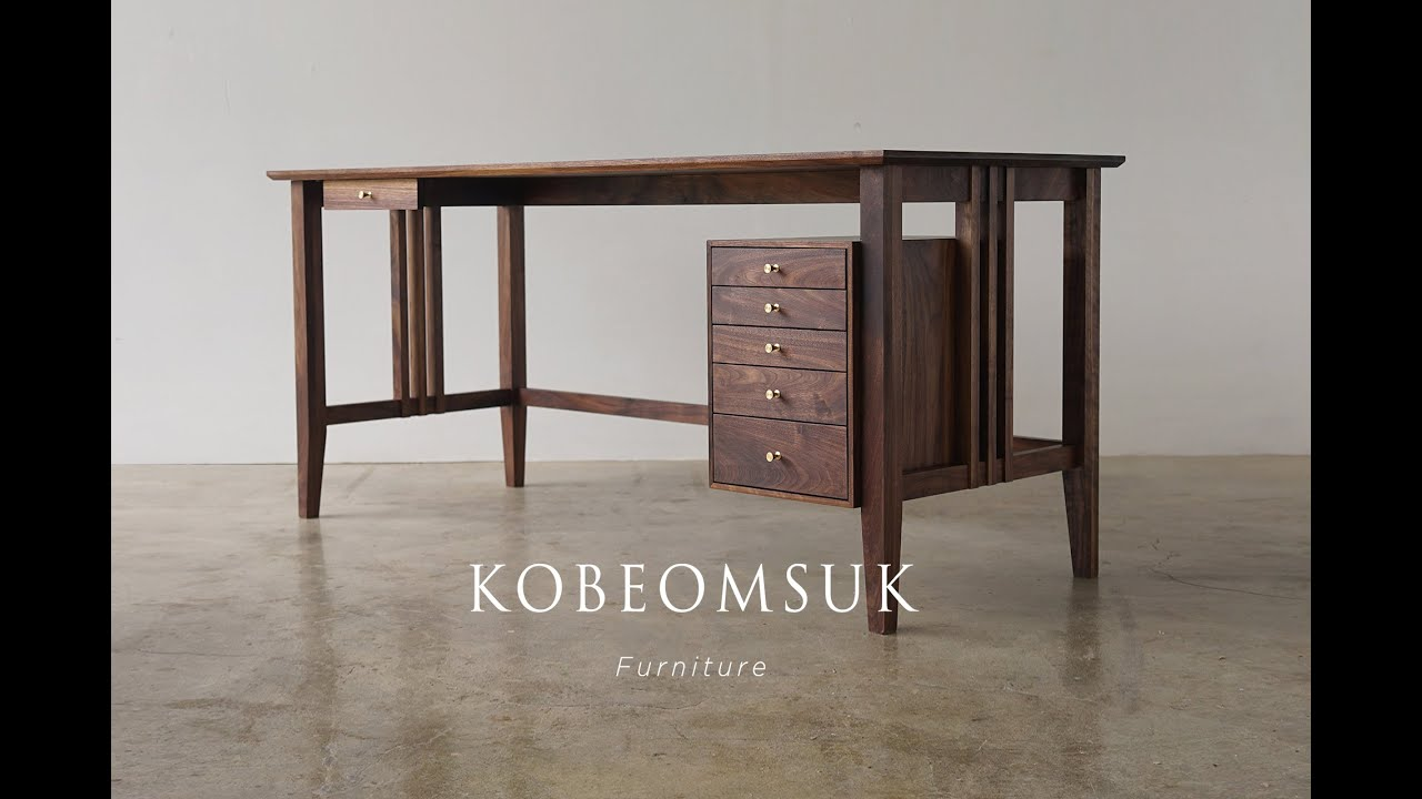 Kobeomsuk Furniture Walnut Desk With Drawers Youtube