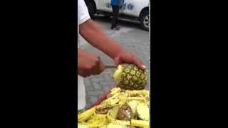 art of pineapple peeling