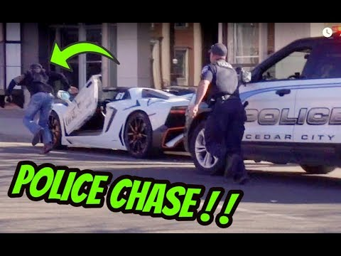 LAMBORGHINI POLICE CHASE GETAWAY GONE WRONG ** RUNNING FROM COPS**
