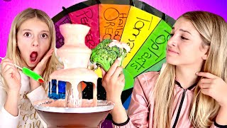 MYSTERY WHEEL OF CHOCOLATE FOUNTAIN CHALLENGE! QUINN SISTERS
