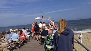 Jewish wedding on the ocean pier in ocean grove
