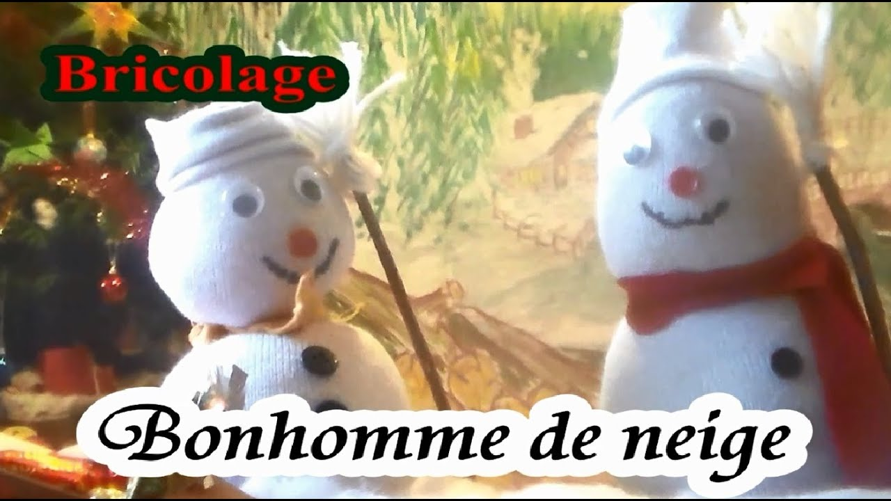 diy no l d 39 un bonhomme de neige en chaussette bricolage facile youtube. Black Bedroom Furniture Sets. Home Design Ideas
