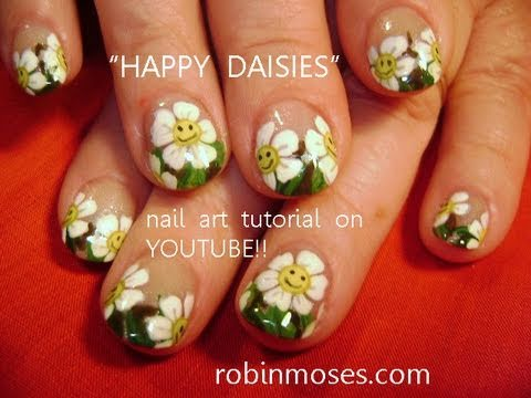 Happy Face Daisies On French Tips Cute Daisy Nail Design Tutorial