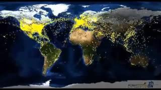 Схема или карта полетов самолетов по всему миру, из космоса в течении суток
