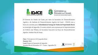 IDACE vai realizar entrega de Títulos da Terra dia 27 na cidade de Jaguaribe