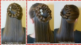 Side Braided Wreath or Halo Braid, Half Up Hairstyle