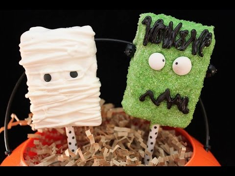 easy halloween treats rice krispie mummy frankenstein youtube