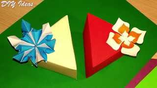 DIY easy and cute Triangular box: ONE piece of paper, NO template. Gift box in 5 minutes!