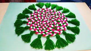 बची हुई ऊन से बनायें आसन   /Make beautiful doormate /thalpose out of wool/woolen craft/वूलन आसन
