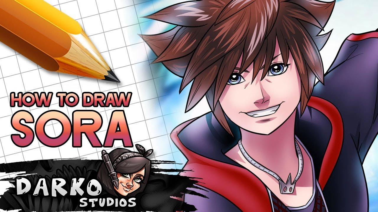 How To Draw Sora From Kingdom Hearts 3 Easy Draw Kingdom Hearts 3