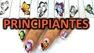 Dibujar facil mariposas en tus uñas - mariposa en uña paso a paso - Easy butterfly nail art tutorial