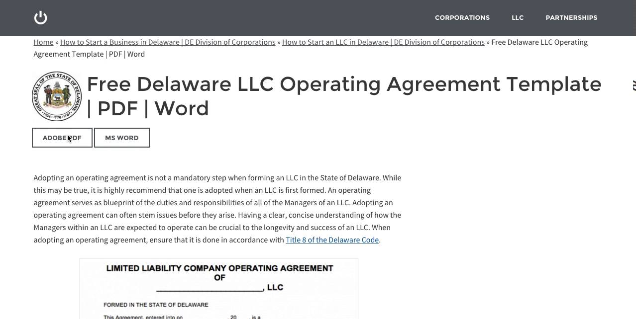 free delaware llc operating agreement template pdf word youtube. Black Bedroom Furniture Sets. Home Design Ideas
